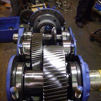 finished gearbox repair in blue and chrome