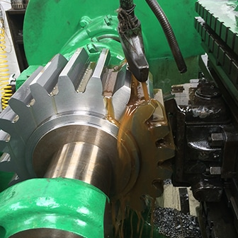specialist machining gears cutting service, large green gear cutting machine